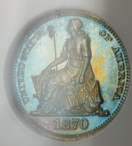1870 PROOF COPPER HALF DIME 5C PATTERN COIN J 812 NGC PF 67 RB TONED WW
