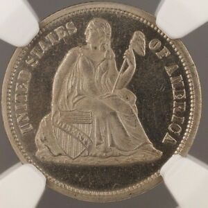 1869 10C SEATED LIBERTY DIME US PATTERN PROOF COIN J 716 NGC PF 64 WW