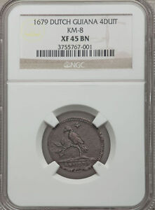 Click now to see the BUY IT NOW Price! 1679 DUTCH GUIANA SURINAME 4 DUIT NGC XF 45 BN  ABOVE VF