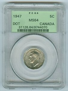 Click now to see the BUY IT NOW Price! 5 CENTS CANADA 1947 DOT GRADED BY PCGS MS64