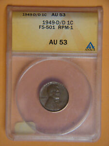 Click now to see the BUY IT NOW Price! 1949 D/D ANACS AU53 LINCOLN CENT RPM ERROR  COPPER WHEAT PENNY SHIPS FREE