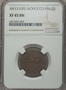 Click now to see the BUY IT NOW Price! AH 1310 FS 1892 MOROCCO FALUS NGC XF 45  OVER $600 IN KRAUSE CATALOG