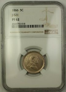 Click now to see the BUY IT NOW Price! 1866 NICKEL PATTERN PROOF 5C COIN NGC PF 62 J 521  PRIVATE RESTRIKE  JUDD WW