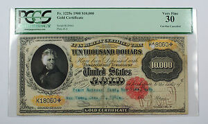 Click now to see the BUY IT NOW Price! 1900 $10000 GOLD CERTIFICATE CURRENCY PCGS VF 30  CANCELLED  FR. 1225E