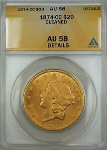 Click now to see the BUY IT NOW Price! 1874 CC $20 LIBERTY DOUBLE EAGLE GOLD COIN ANACS AU 58 DETAILS CLEANED