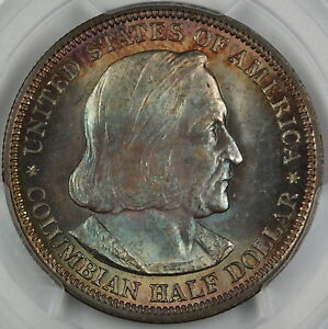 Click now to see the BUY IT NOW Price! 1893 COLUMBIAN SILVER HALF DOLLAR PCGS MS 65  TONED  COMMEMORATIVE COIN