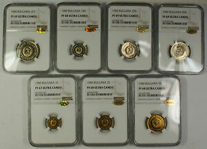 Click now to see the BUY IT NOW Price! 1980 COMPLETE BULGARIA PROOF ULTRA CAMEO 7 PIECE SET NGC; WINGS ENDORSED