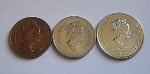 CANADIAN CANADA 1 5 25 CENTS   LOT OF 3 COINS CIRCULATED