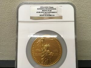 Click now to see the BUY IT NOW Price! 1976 NATIONAL BICENTENNIAL MEDAL LARGE FORMAT GOLD 75MM 455.5 GRAMS NGC PF 68