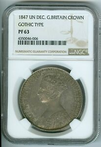 Click now to see the BUY IT NOW Price! 1847 UN DECIMO GREAT BRITAIN CROWN   GOTHIC TYPE  NGC PF63
