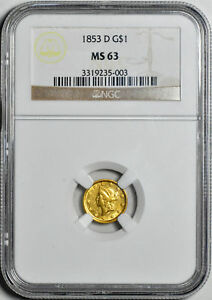 Click now to see the BUY IT NOW Price! 1853 D GOLD G$1 NGC MS 63
