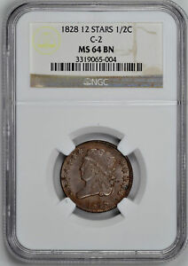 Click now to see the BUY IT NOW Price! 1828 CLASSIC 1/2 C NGC MS 64 BN