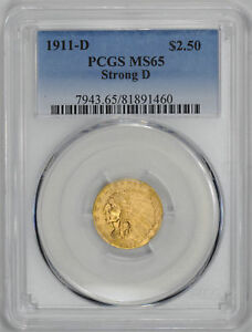 Click now to see the BUY IT NOW Price! 1911 D INDIAN $2 1/2 PCGS MS 65