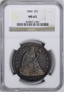 Click now to see the BUY IT NOW Price! 1844 LIBERTY SEATED S$1 NGC MS 63
