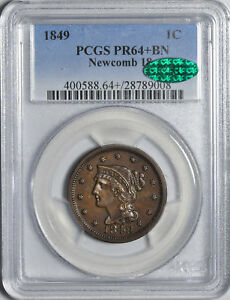 Click now to see the BUY IT NOW Price! 1849 BRAIDED HAIR 1C PCGS PR 64  BN