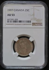 1907 CANADA 25 CENTS   .925 SILVER   EDWARD VII   NGC CERT. AU53 4477691 005