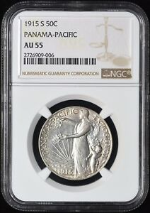 Click now to see the BUY IT NOW Price! 1915 S OVER S  S/S  PANAMA PACIFIC COMMEMORATIVE HALF DOLLAR NGC AU 55