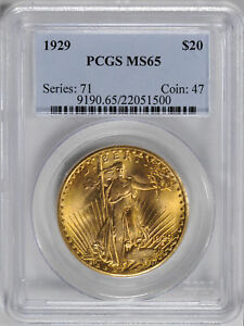 Click now to see the BUY IT NOW Price! 1929 ST. GAUDENS $20 PCGS MS 65