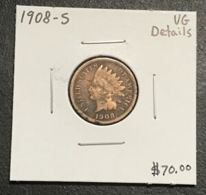 1908 S U.S. INDIAN HEAD PENNY CENT   VG DETAILS  $2.95 MAX SHIPPING  C512