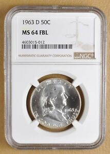 1963 D FRANKLIN SILVER HALF DOLLAR NGC MS64FBL W/ TONED REVERSE