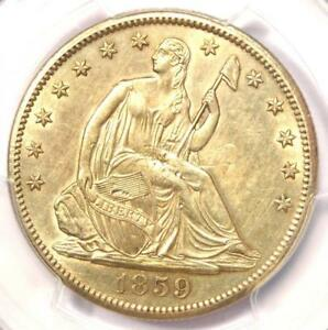 1859 S SEATED LIBERTY HALF DOLLAR 50C   CERTIFIED PCGS AU DETAILS    COIN