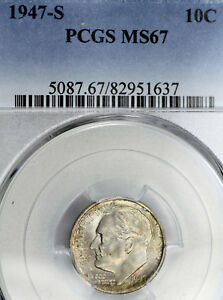 1947 S MS67 ROOSEVELT DIME 10C GRADED BY PCGS LIGHT COLOR TONED
