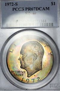RAINBOW TONE 1972 S PR67 DCAM SILVER EISENHOWER IKE DOLLAR $1 PROOF PCGS GRADED