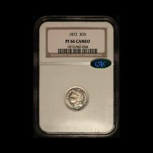 Click now to see the BUY IT NOW Price! 1872 NICKEL THREE CENT PIECE CAC & NGC PF66 CAMEO    USA