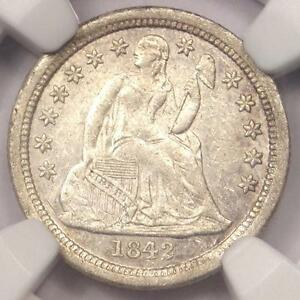 1842 O SEATED LIBERTY DIME 10C   NGC AU DETAILS    DATE COIN