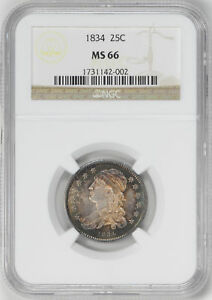 Click now to see the BUY IT NOW Price! 1834 CAPPED BUST 25C NGC MS 66