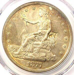 1877 S TRADE SILVER DOLLAR T$1   PCGS UNCIRCULATED DETAILS CHOP MARK  UNC MS