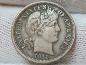 1912 SILVER BARBER DIME AND
