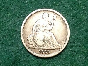1838 O SEATED LIBERTY DIME  STRONG DETAIL & BEAUTIFUL NO STARS TYPE