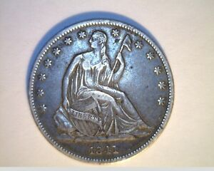 1841 0 US SEATED LIBERTY HALF  CIRCULATED .900 SILVER  US 6233