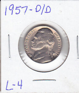 1957 D/D L 4 JEFFERSON NICKEL UNC