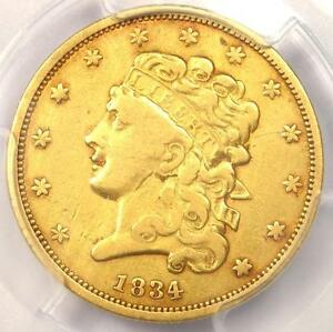 1834 CLASSIC GOLD HALF EAGLE $5   PCGS XF DETAIL    EF CERTIFIED GOLD COIN