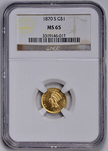 Click now to see the BUY IT NOW Price! 1870 S GOLD G$1 NGC MS 65