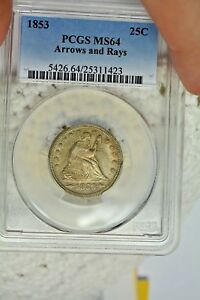 1853 25C ARROWS AND RAYS PCGS MS64