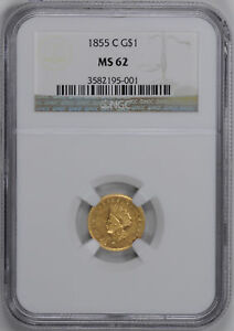 Click now to see the BUY IT NOW Price! 1855 C GOLD G$1 NGC MS 62