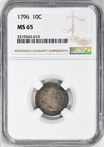 Click now to see the BUY IT NOW Price! 1796 DRAPED BUST 10C NGC MS 65