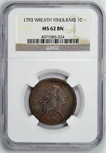 Click now to see the BUY IT NOW Price! 1793 WREATH 1C NGC MS 62 BN