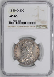 1839 O CAPPED BUST 50C NGC MS 65
