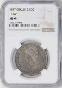 1827 CAPPED BUST 50C NGC MS 64