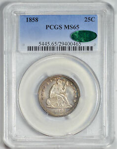 1858 LIBERTY SEATED 25C PCGS MS 65