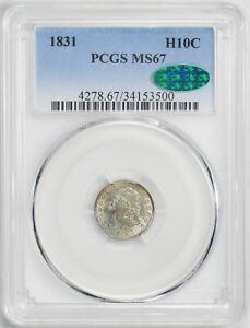 1831 CAPPED BUST H10C PCGS MS 67