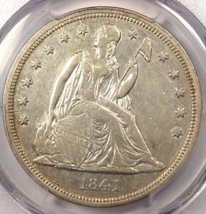 1841 SEATED LIBERTY SILVER DOLLAR $1   PCGS AU DETAILS    EARLY DATE COIN