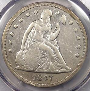 1847 SEATED LIBERTY SILVER DOLLAR $1   PCGS XF DETAILS    CERTIFIED COIN