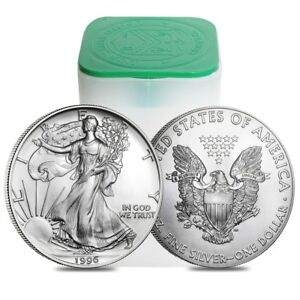 Click now to see the BUY IT NOW Price! ROLL OF 20   1996 1 OZ SILVER EAGLES BU KEY DATE