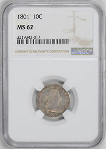 Click now to see the BUY IT NOW Price! 1801 DRAPED BUST 10C NGC MS 62