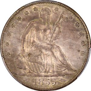 Click now to see the BUY IT NOW Price! 1855 S 50C LIBERTY SEATED HALF DOLLAR PCGS AU58 CAC ARROWS